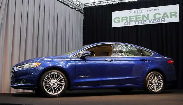 The Ford Fusion wins the Green Car of The Year award at the LA Auto Show in Los Angeles, Thursday, Nov. 29, 2012. The annual Los Angeles Auto Show opened to the media Wednesday at the Los Angeles Convention Center. The show opens to the public on Friday, November 30. Photo: Jae C. Hong, Associated Press