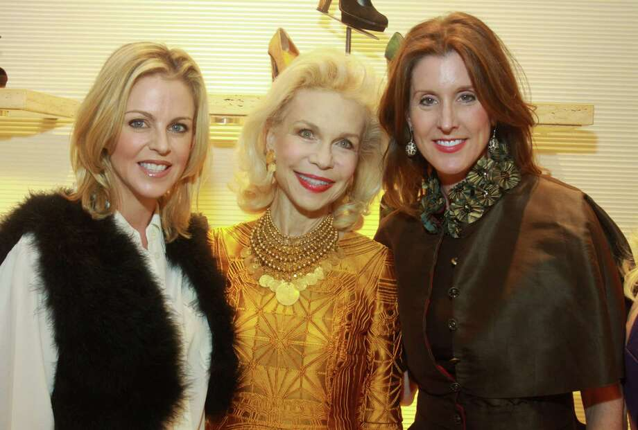 Elizabeth Petersen, from left, Lynn Wyatt and Phoebe Tudor at the Fendi fur event. Photo: Gary Fountain, Freelance / Copyright 2012 Gary Fountain.