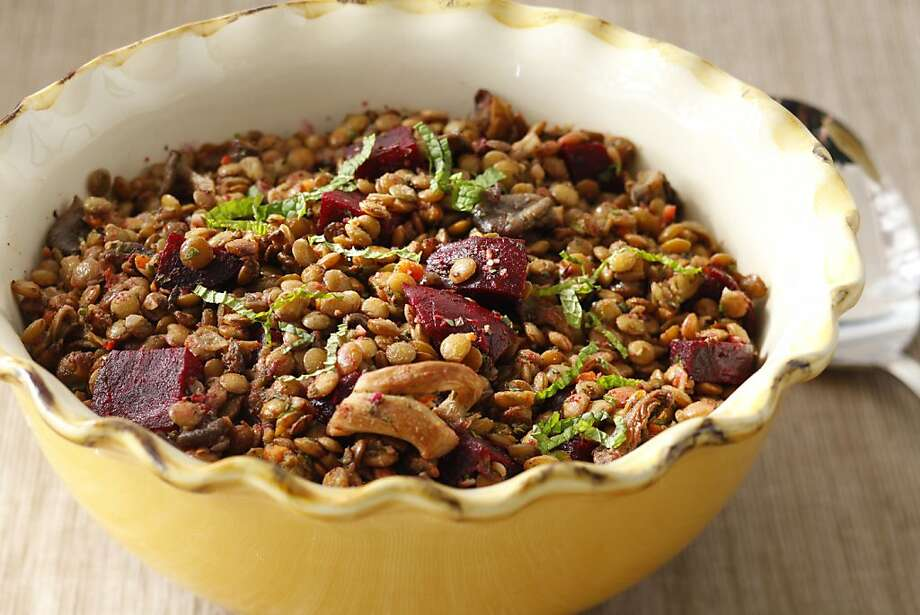 Umbrian Lentil Salad With Roasted Mushrooms & Beets Photo: Craig Lee, Special To The Chronicle