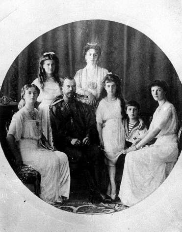 The original Anastasia, from the family of Russia's Czar Nicholas II. Bottom row left to right, Princess Olga, Czar Nicholas II, Princess Anastasia, Prince Alexei and Princess Tatiana. Top row left to right, Princess Maria and Princess Alexandra. The remains of the last czar's son and heir to the Russian throne.