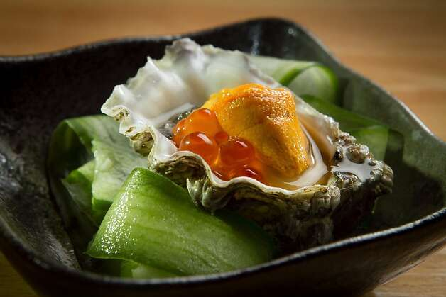 The Yonsei oyster is topped with sea urchin and salmon roe. Photo: John Storey, Special To The Chronicle