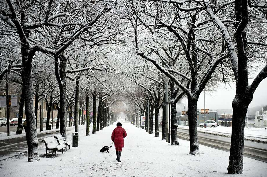 It's going to be a long, long winter in Sweden:Snow covers a street in Stockholm. Photo: Jessica Gow, AFP/Getty Images