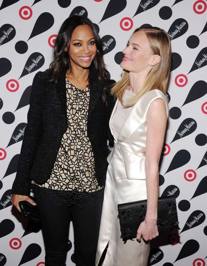 Actresses Zoe Saldana (L) and Kate Bosworth attend the Target + Neiman Marcus Holiday Collection launch event on November 28, 2012 in New York City.  (Photo by Jamie McCarthy/Getty Images for Target) Photo: Jamie McCarthy, Getty Images For Target / 2012 Getty Images