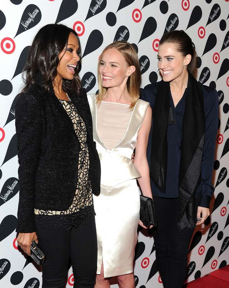 Actresses Zoe Saldana, from left, Kate Bosworth and Allison Williams attend the Target and Neiman Marcus holiday collection launch on Wednesday Nov. 28, 2012 in New York. (Photo by Evan Agostini/Invision/AP) Photo: Evan Agostini, Associated Press / Invision