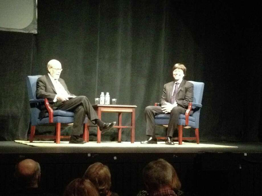 Photo by Paul Grondahl Harold Holzer, left, led documentary filmmaker Ken Burns through a 90-mniute conversation at the Egg in Albany Monday. The event sold out the 1,000-seat theater weeks in advance and was the most successful event in the 20 years of teh Archives Partnership Trust.