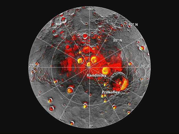 Shown in red are areas of Mercury's north polar region that are in shadow in all images acquired by MESSENGER to date. Image coverage, and mapping of shadows, is incomplete near the pole. The polar deposits imaged by Earth-based radar are in yellow and the background image is the mosaic of MESSENGER images. This comparison indicates that all of the polar deposits imaged by Earth-based radar are located in areas of persistent shadow as documented by MESSENGER images.  Image Credit: NASA/Johns Hopkins University Applied Physics Laboratory/Carnegie Institution of Washington/National Astronomy and Ionosphere Center, Arecibo Observatory