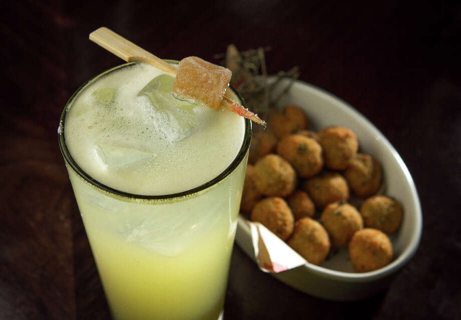The Nonna del Diavolo cocktail with Fried Olives at Locanda. Photo: John Storey, Special To The Chronicle / John Storey