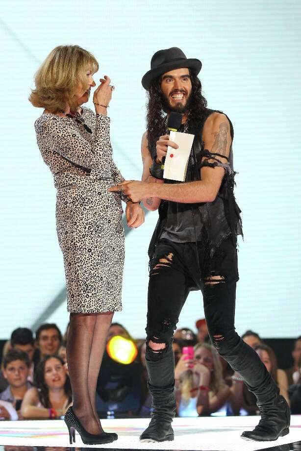 Russell Brand presents the ARIA for best female artist on stage with his mother Barbara Brand at the 26th Annual ARIA Awards 2012 at the Sydney Entertainment Centre on November 29, 2012 in Sydney, Australia.  (Photo by Don Arnold/Getty Images) Photo: Don Arnold, Getty Images / 2012 Getty Images