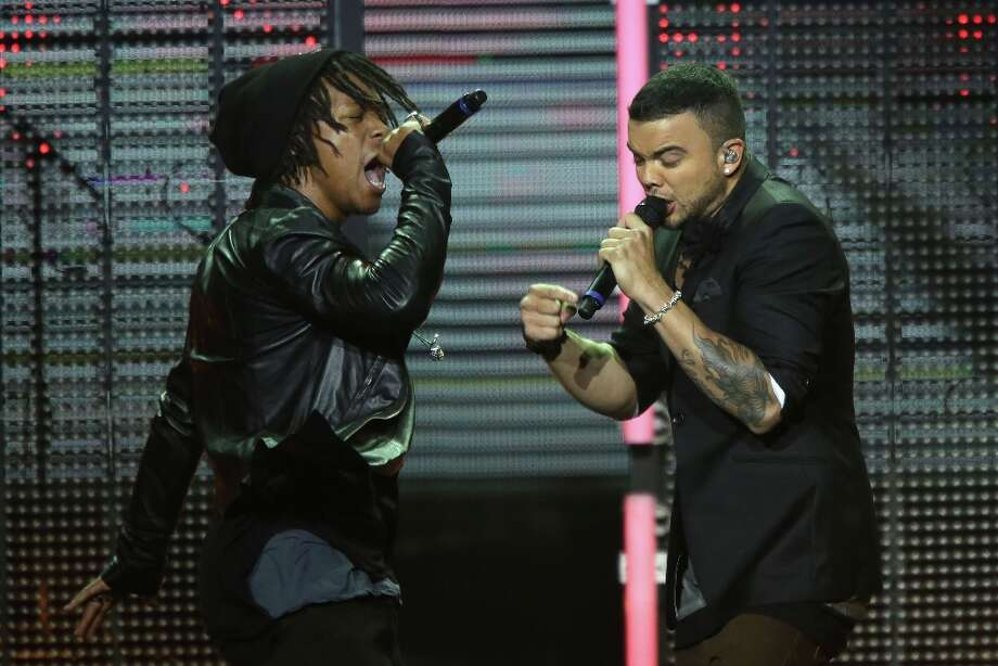 Guy Sebastian and Lupe Fiasco perform on stage at the 26th Annual ARIA Awards 2012 at the Sydney Entertainment Centre on November 29, 2012 in Sydney, Australia.  (Photo by Brendon Thorne/Getty Images) Photo: Brendon Thorne, Getty Images / 2012 Getty Images