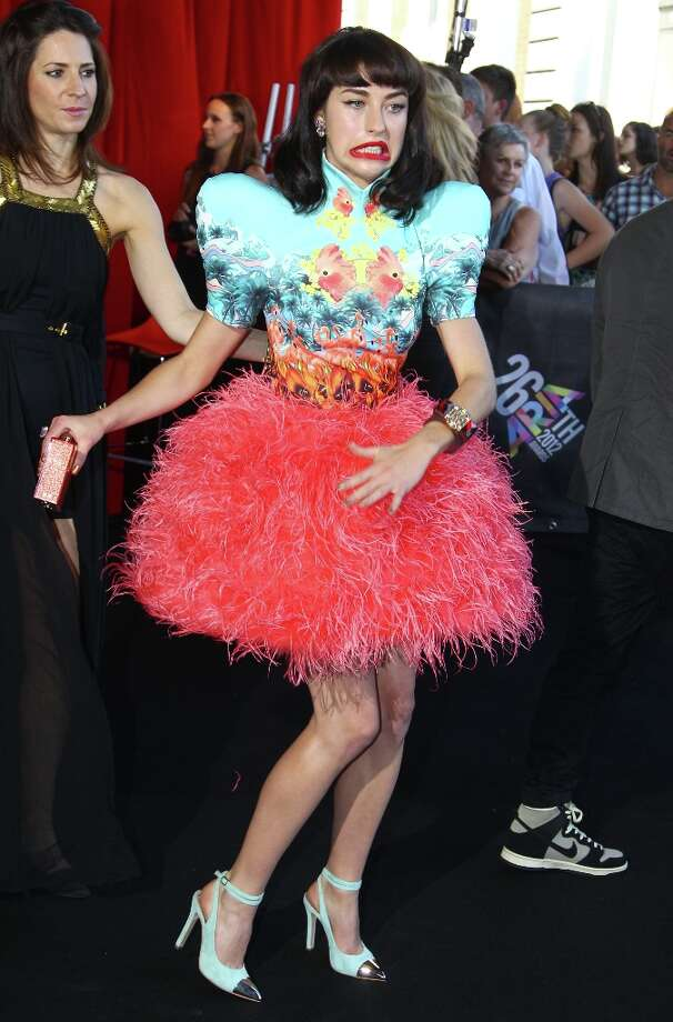 Kimbra Lee Johnson arrives for the Australian music industry Aria Awards in Sydney, Thursday, Nov. 29, 2012. (AP Photo/Rick Rycroft) Photo: Rick Rycroft, Associated Press / AP