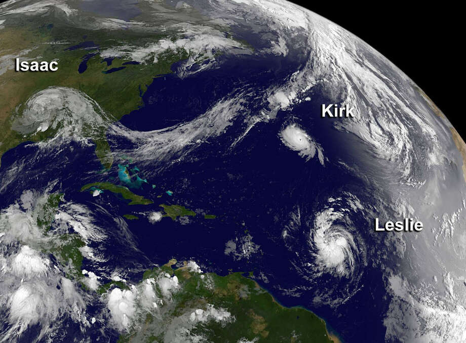 HURRICANES LESLIE AND KIRK: Both storms never got near the Caribbean and moved north in late August. Kirk, a Category 2, never touched land, and Leslie, a Category 1, made landfall in Newfoundland and Labrador, Canada on Sept. 11. No known casualties or damage.  Photo: .