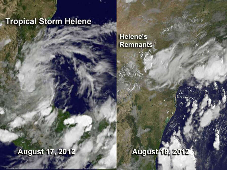 TROPICAL STORM HELENE:This storm had several incarnations as it crossed the Atlantic, made its way through the Caribbean and then into the Gulf of Mexico, making landfall at Tampico, Mexico, on Aug. 18. Its remnants produced terrible flooding and mudslides in Trinidad and Tobago. Two people died and the damage was about $17 million.  Photo: .