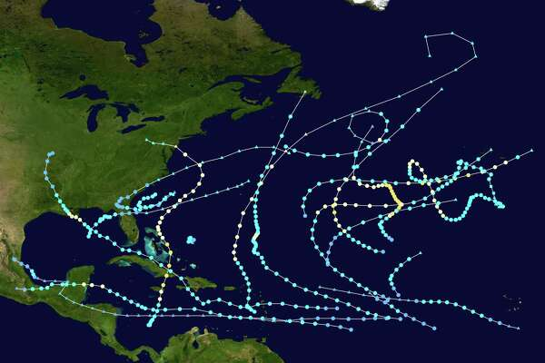 Paths of hurricanes and tropical storms for the 2012 Atlantic hurricane season, which ends Nov. 30, 2012.