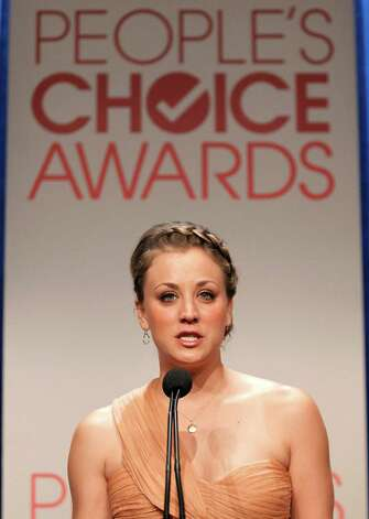 Actress Kaley Cuoco speaks during the nominations announcement for People's Choice Awards 2012, Tuesday, Nov. 8, 2011, in Beverly Hills, Calif.  The People's Choice Awards 2012 will be held Jan. 11, 2012. (AP Photo/Matt Sayles) Photo: Matt Sayles / AP