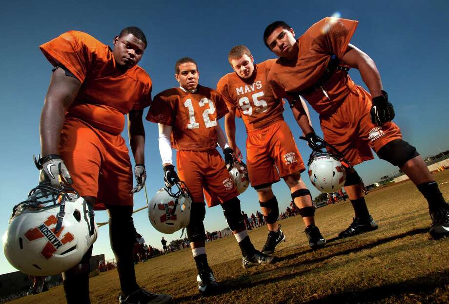 Madison's top defensive players (from left) Vincent Taylor, Avery Williams, Cody Wetz and Nahum Olivares are part of a unit that yields an average of 308 yards per game this season.  William Luther / San Antonio Express-News Photo: William Luther, San Antonio Express-News / © 2012 San Antonio Express-News