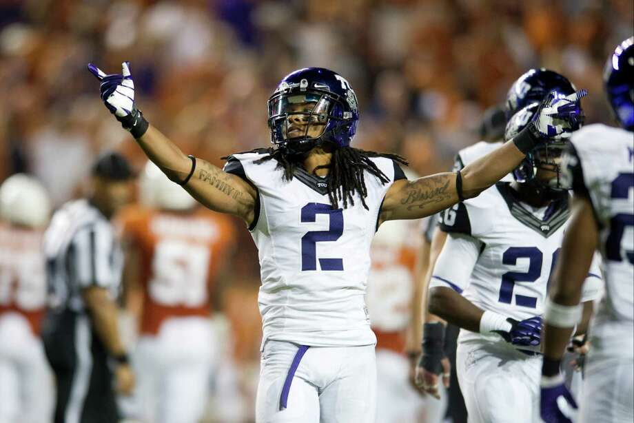 Jason Verrett #2 of the TCU Horned Frogs celebrates after an interception that lead to the TCU victory over the Texas Longhorns on November 22, 2012 at Darrell K Royal-Texas Memorial Stadium in Austin, Texas. Photo: Cooper Neill, Getty Images / 2012 Getty Images