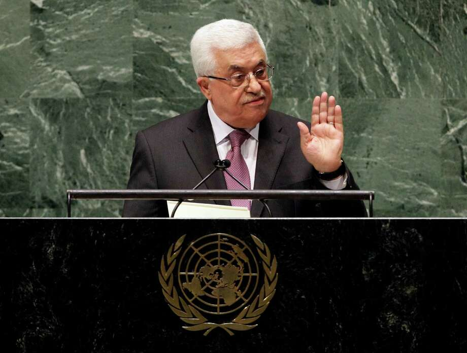 "in United Nations General Assembly, Thursday, Nov. 29, 2012. In a statement Thursday, Palestinian President Mahmoud Abbas appealed to all nations to vote in favor of the Palestinians ""as an investment in peace.""  (AP Photo/Richard Drew) Photo: Richard Drew, STF / AP"