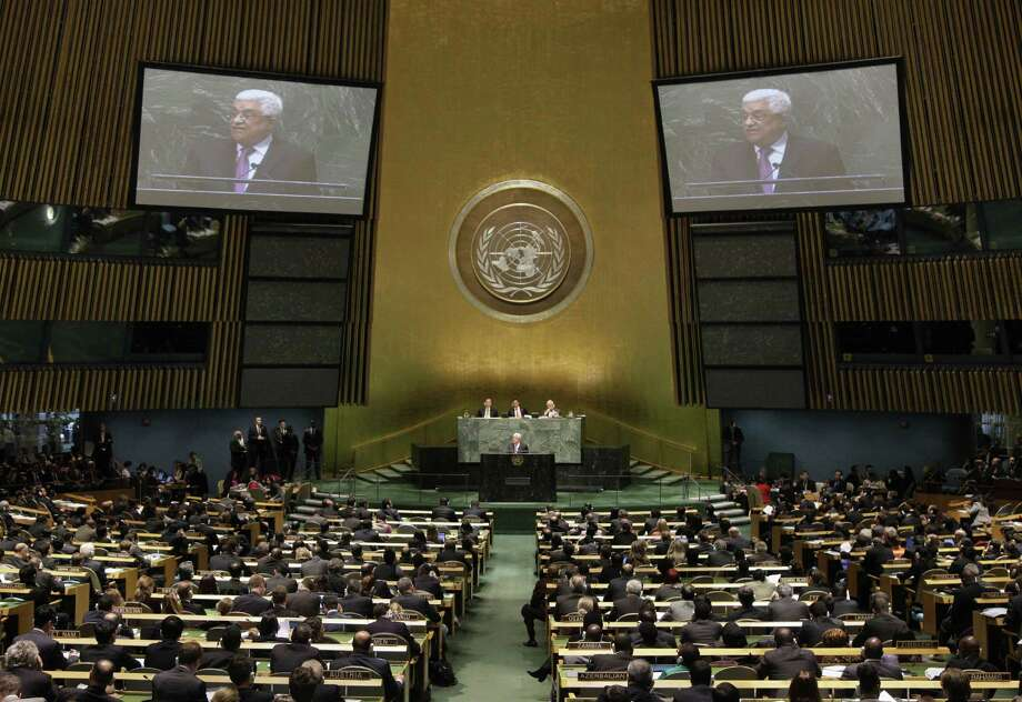 Palestinian President Mahmoud Abbas acknowledges applause before he addresses the United Nations General Assembly. Photo: Richard Drew, STF / AP