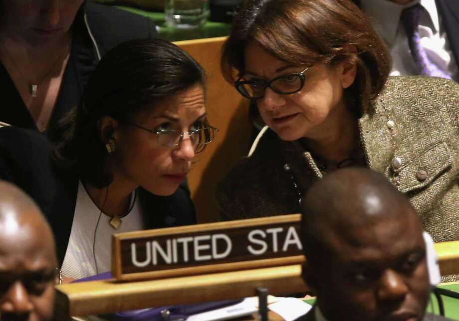 Susan Rice, left, the U.S. ambassador, listens in on the proceedings. The United States and Israel voted against recognition, joined by 