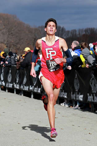Fairfield Prep's Christian Alvarado races during his eighth place finish at the Foot Locker Northeast Regional Championships in New York on Nov. 24. Photo: Contributed Photo