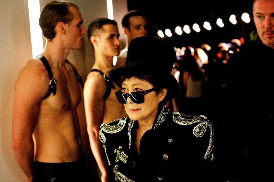 Yoko Ono, the former wife of John Lennon, a member of the Beatles, during performer Lady Gaga's fragrance launch party at the Guggenheim Museum in New York, Sept. 13, 2012. Ono is now designing men's wear and preparing to release an album. Photo: MICHAEL NAGLE, New York Times / NYTNS