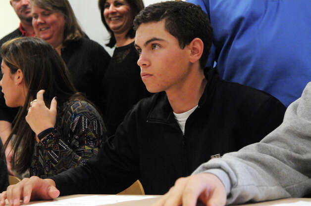 Golf player Danny Guise has signed with Wake Forest University, he and fellow Greenwich High School athletes gather for a ceremony celebrating their signing national letters of intent for college at the high school in Greenwich, Conn., Nov. 28, 2012. Photo: Keelin Daly / Stamford Advocate Riverbend Stamford, CT