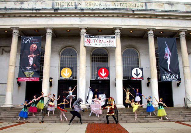 "The New England Ballet Company is one of a number of dance companies and schools throughout Fairfield and New Haven counties that will be putting on versions of ""The Nutcracker"" this holiday season. Here, some of the many characters that bring the story to life pose on the steps of Bridgeport's Klein Memorial Auditorium where the 2012 production will be staged on Saturday, Dec. 15. For more information, call 203-799-7950 or visit www.newenglandballet.org. Photo: Contributed Photo"