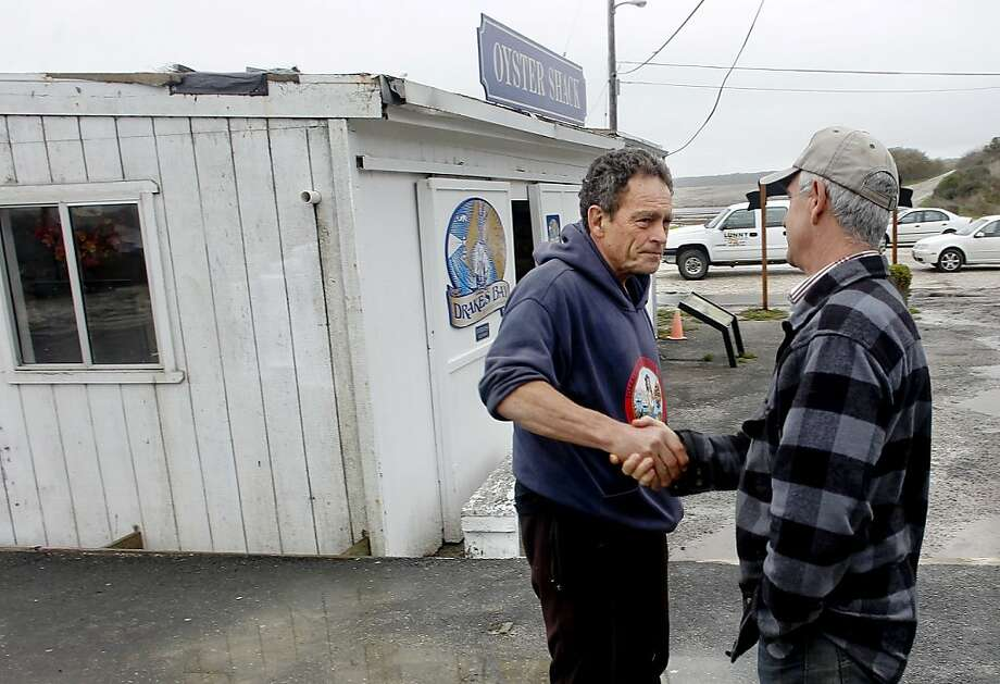 Tomales Bay Oyster Co. owner Todd Friend (left) with Drakes Bay Oyster Co. owner Kevin Lunny, who lost his appeal of a federal lease rejection. Photo: Michael Macor, The Chronicle