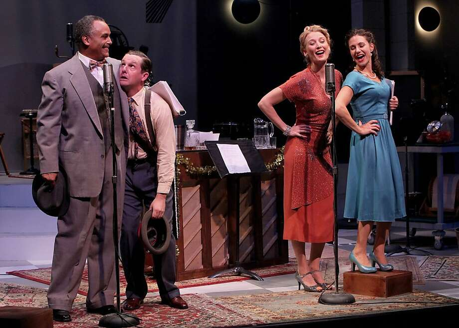 "Radio actors Freddie Filmore (Michael Gene Sullivan, left), Harry ""Jazzbo"" Heywood (Patrick Kelly Jones), Lana Sherwood (Carrie Paff) and Sally Applewhite (Sarah Overman) in Marin Theatre Company's ""It's a Wonderful Life: A Live Radio Play"" Photo: Ed Smith"