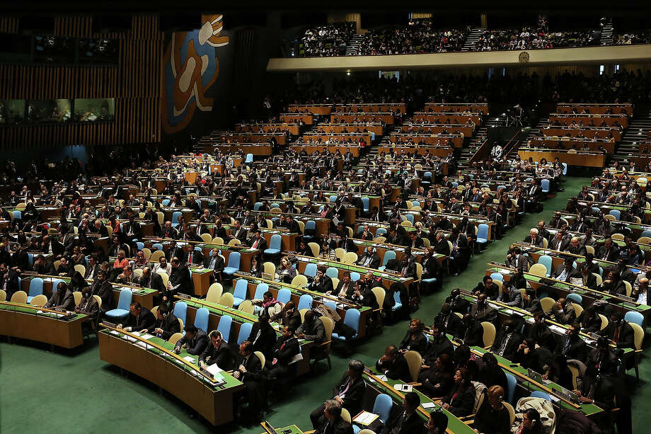 NEW YORK, NY - NOVEMBER 29:  Delegates wait for Palestinian Authority President Mahmoud Abbas to speak to the General Assembly at the United Nations before a UN General Assembly vote on upgrading the status of the Palestinians to non-member observer state on November 29, 2012 in New York City. With many European nations in favor, it looks certain that the Palestinians will win the coveted U.N. recognition as a state today. Photo: Spencer Platt, Getty Images / 2012 Getty Images