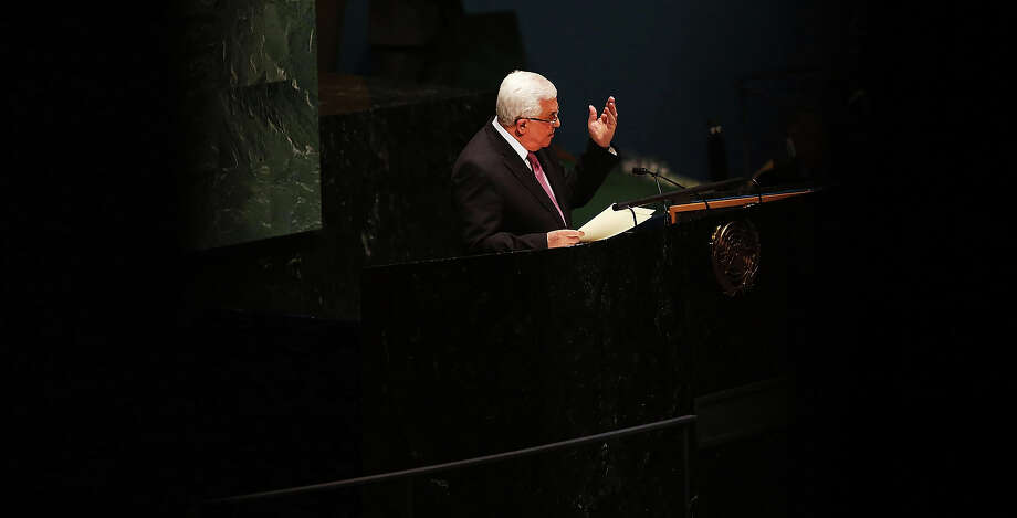 NEW YORK, NY - NOVEMBER 29:  Palestinian Authority President Mahmoud Abbas addresses the General Assembly at the United Nations before a UN General Assembly vote on upgrading the status of the Palestinians to non-member observer state on November 29, 2012 in New York City. With many European nations in favor, it looks certain that the Palestinians will win the coveted U.N. recognition as a state today. Photo: Spencer Platt, Getty Images / 2012 Getty Images