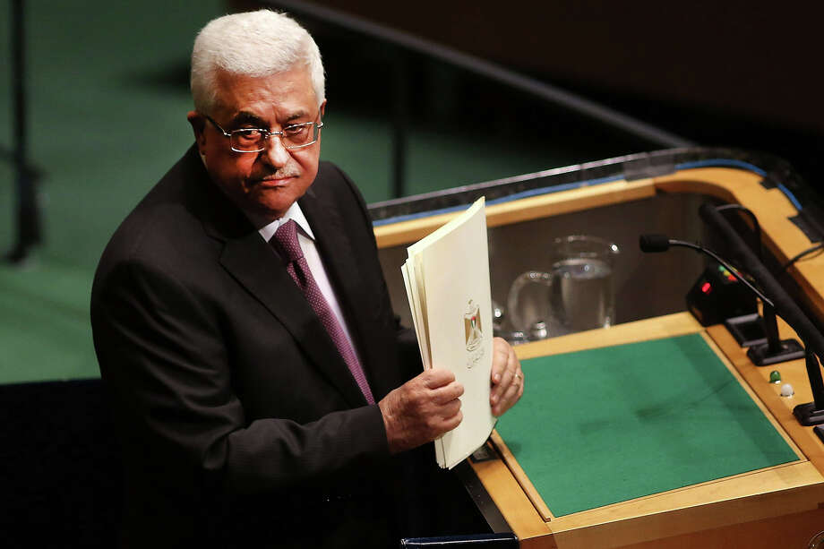NEW YORK, NY - NOVEMBER 29:  Palestinian Authority President Mahmoud Abbas concludes his address to the General Assembly at the United Nations before a UN General Assembly vote on upgrading the status of the Palestinians to non-member observer state on November 29, 2012 in New York City. With many European nations in favor, it looks certain that the Palestinians will win the coveted U.N. recognition as a state today. Photo: Spencer Platt, Getty Images / 2012 Getty Images