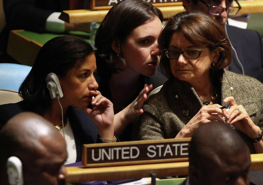 "NEW YORK, NY - NOVEMBER 29:  Susan Rice (L), the American ambassador to the United Nations, sits with members of the U.S. delegation ahead of a vote at the UN General Assembly on Palestinian ""non-member status"" on November 29, 2012 in New York City. The General Assembly was set to approve the implicit recognition of Palestinian statehood despite opposition from the United States, Israel and a handful of other members. Photo: John Moore, Getty Images / 2012 Getty Images"