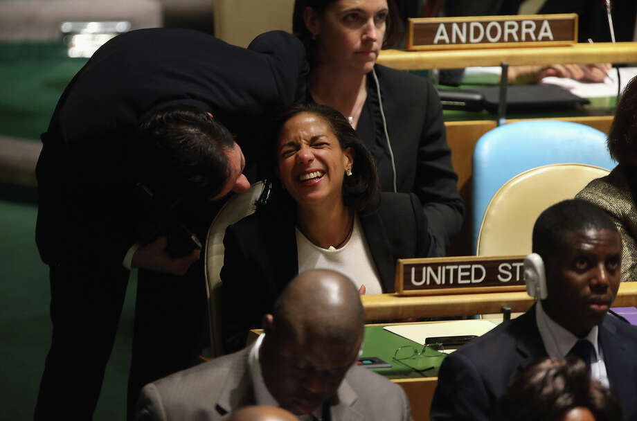 "NEW YORK, NY - NOVEMBER 29:  Susan Rice, the American ambassador to the United Nations is congratulated after speaking at the UN General Assembly on November 29, 2012 in New York City. The United States voted against an historic resolution granting ""non-member status"" to Palestine, which was approved by the 193-member body by a vote of 138-9, with 41 abstentions. Photo: John Moore, Getty Images / 2012 Getty Images"