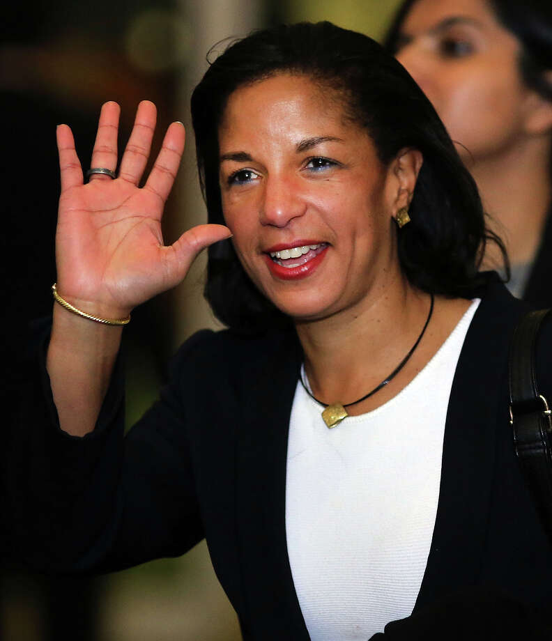 NEW YORK, NY - NOVEMBER 29:  U.N. Ambassador Susan Rice leaves following a General Assembly vote granting Palestinians non-member observer status on November 29, 2012 in New York City. The resolution was approved by the 193-member body by a vote of 138-9, with 41 abstentions. The United States, Israel, Canada and a handful of others voted against Thursday's historic UN resolution. Photo: Spencer Platt, Getty Images / 2012 Getty Images