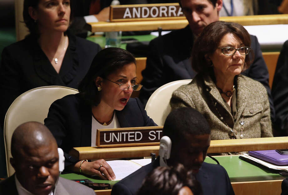 NEW YORK, NY - NOVEMBER 29:  U.S. Ambassador to the United Nations Susan Rice explains the U.S. position opposing a resolution on Palestinians at a meeting of the General Assembly on November 29, 2012 in New York City. The United States, Israel, Canada and a handful of others voted against today's historic resolution granting non-member observer status to Palestinians. The resolution was approved by the 193-member body by a vote of 138-9, with 41 abstentions. Photo: John Moore, Getty Images / 2012 Getty Images