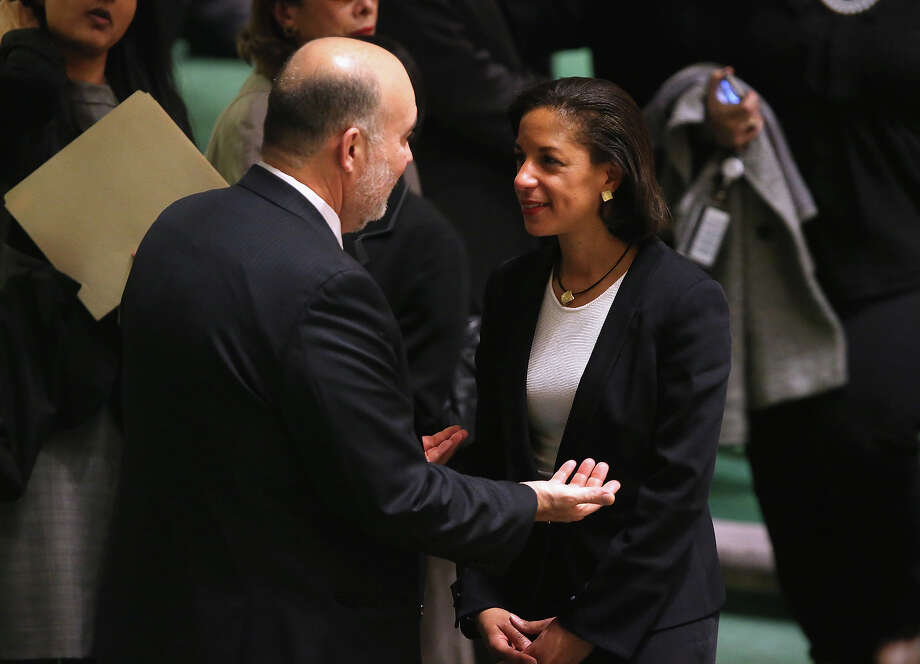"NEW YORK, NY - NOVEMBER 29:  U.S. Ambassador to the United Nations Susan Rice speaks with Israeli U.N. Ambassador Ron Prosor at a meeting of the General Assembly on November 29, 2012 in New York City. The United States, Israel, Canada and a handful of others voted against today's historic resolution granting ""non-member observer""status to the Palestinians. The resolution was approved by the 193-member body by a vote of 138-9, with 41 abstentions. Photo: John Moore, Getty Images / 2012 Getty Images"