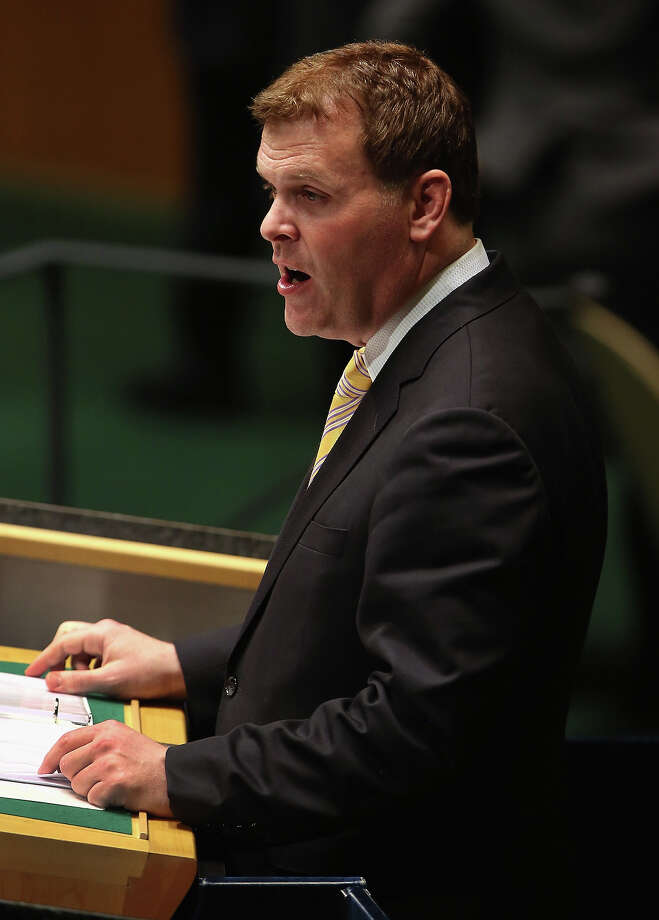 NEW YORK, NY - NOVEMBER 29:  Canadian Foreign Minister John Baird addresses the United Nations General Assembly on November 29, 2012 in New York City. Canada, the United States, Israel and a handful of others voted against today's historic resolution granting non-member observer status to Palestinians. The resolution was approved by the 193-member body in a 138-9 vote, with 41 abstentions. Photo: John Moore, Getty Images / 2012 Getty Images