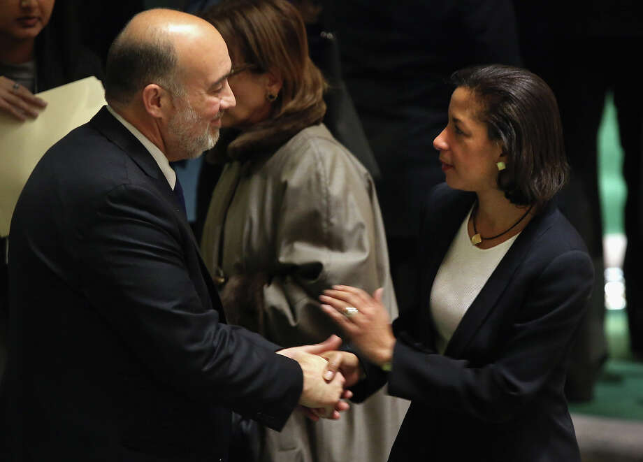 NEW YORK, NY - NOVEMBER 29:   U.S. Ambassdaor to the United Nations Susan Rice and Israeli U.N. Ambassador Ron Prosor talk at a meeting of the General Assembly on November 29, 2012 in New York City. The United States, Israel, Canada and a handful of others voted against today's historic resolution granting non-member observer status to Palestinians. The resolution was approved by the 193-member body in a 138-9 vote, with 41 abstentions. Photo: John Moore, Getty Images / 2012 Getty Images