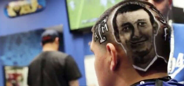 Christian Chavez's haircut, featuring Texas A&M quarterback Johnny Manziel, didn't go over well with Kerrville school officials Thursday. Photo: Courtesy Photo