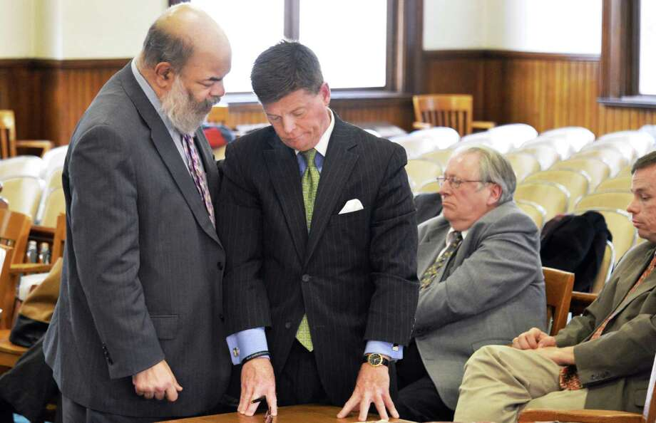 David Lewis, left, representing Assemblyman George Amedore confers with attorney for candidate Cecilia Tkaczyk, Frank Hoare, during the ballot counting case for the 46th State Senate District at the Fonda Courthouse Thursday Nov. 29, 2012.  (John Carl D'Annibale / Times Union) Photo: John Carl D'Annibale / 00020312A