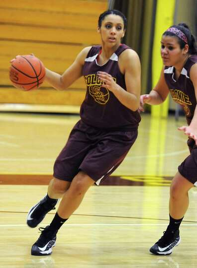 Colonie basketball player Sydnie Rosales drives to the basket during practice on Thursday Nov. 29, 2