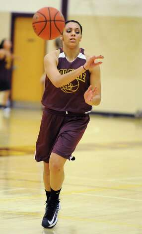 Colonie basketball player Sydnie Rosales passes the ball during a fast break drill at practice on Thursday Nov. 29, 2012 in Colonie, N.Y.  (Lori Van Buren / Times Union) Photo: Lori Van Buren