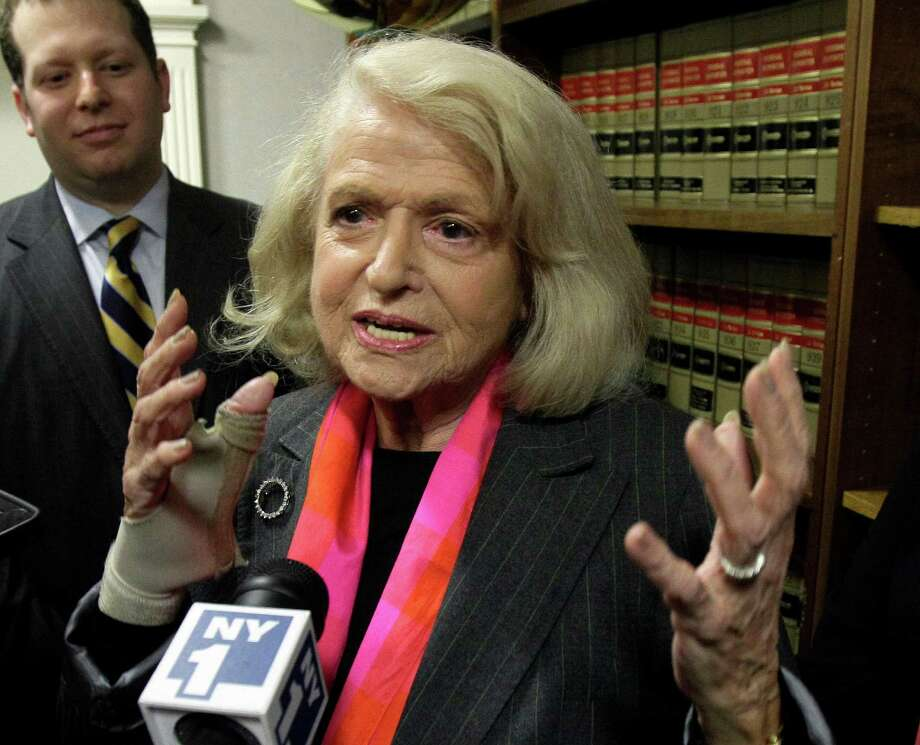 FILE - This Oct. 18, 2012 file photo shows Edith Windsor interviewed at the offices of the New York Civil Liberties Union, in New York. The fight over gay marriage is shifting from the ballot box to the Supreme Court. Three weeks after voters in three states backed it, the justices meet Friday to decide whether they should deal sooner rather than later with the idea that the Constitution gives people the right to marry regardless of a couple's sexual orientation. (AP Photo/Richard Drew, File) Photo: Richard Drew