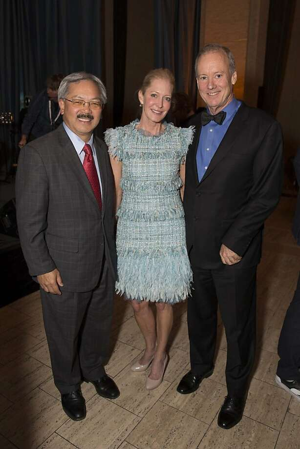 Mayor Ed Lee (left), philanthropist Wendy Schmidt, a member of the institute's board, and the evening's honoree, William McDonough. Photo: Drew Altizer Photography