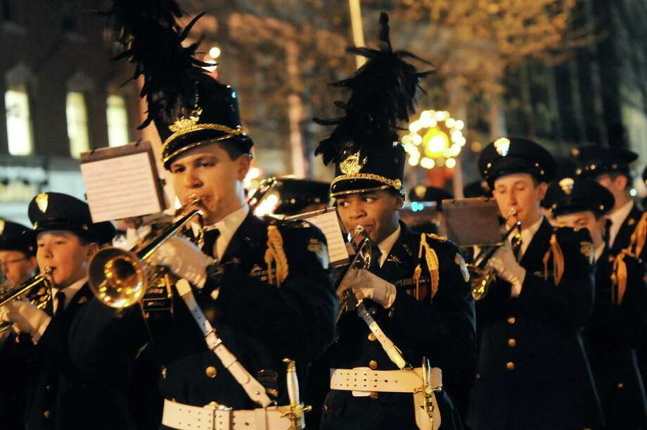 The Christian Brothers Academy Regimental Marching Band performs during the Victorian Streetwalk on Thursday, Nov. 29, 2012, on Broadway in Saratoga Springs, N.Y. (Cindy Schultz / Times Union) Photo: Cindy Schultz /  00020251A