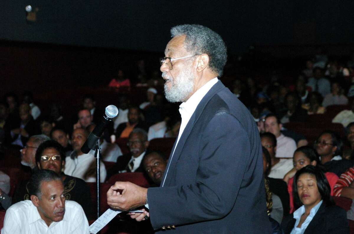 Otis H. King (cq), Professor of Law Emeritis offers his opinion that Texas Southern University should join with the University of Texas system during a town hall meeting where an advisory committee listened to comments and questions Thursday 2/22/07 at TSU.