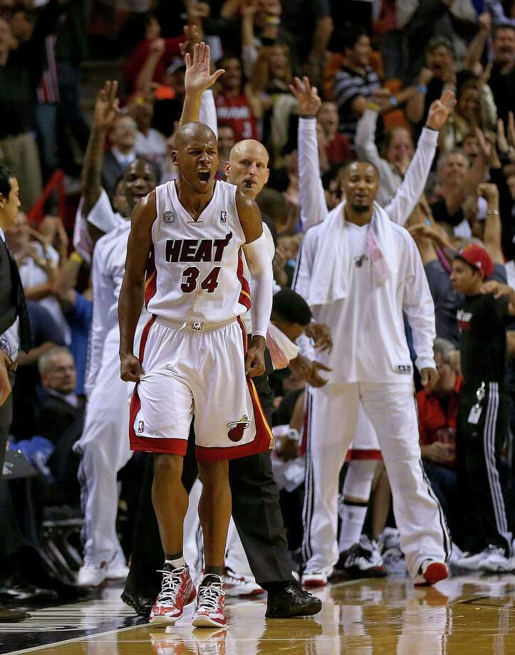 Ray Allen shouts it out after hitting a late go-ahead 3 in the Heat's win over the Spurs. Photo: Mike Ehrmann, Staff / 2012 Getty Images