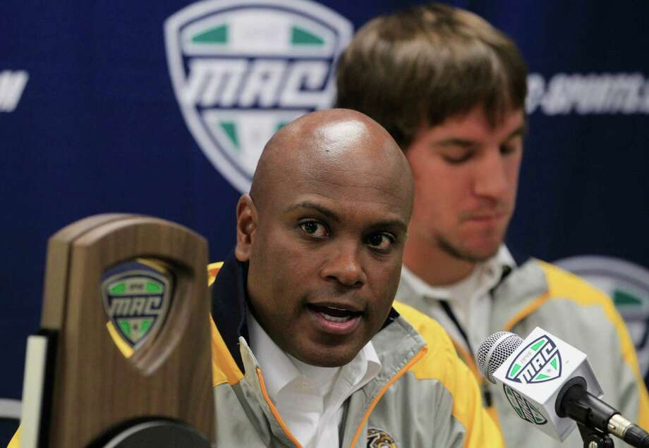 Kent State head coach Darrell Hazell answers questions during a news conference in Detroit, Thursday, Nov. 29, 2012 for the NCAA MAC Championship football game at Ford Field on Friday where they will play against Northern Illinois. (AP Photo/Carlos Osorio) Photo: Carlos Osorio, STF / AP