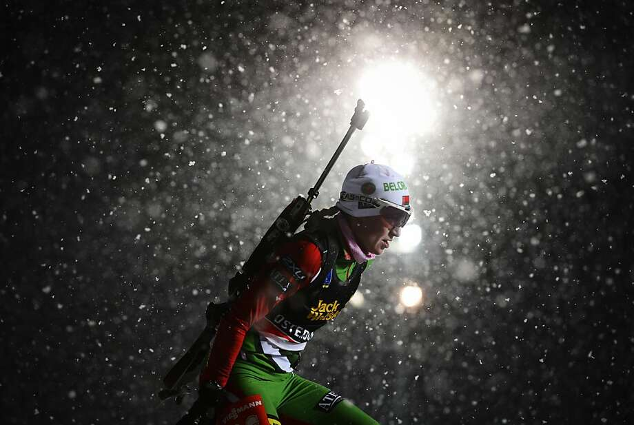 Belarus's Darya Domracheva competes during the women's 15 km individual race of the Biathlon World Cup in Ostersund on November 29, 2012. Norway's Tora Berger won the event ahead of Darya Domracheva of Belarus (2nd) and Russia's Ekaterina Glazyrina (3rd). TOPSHOTS/AFP PHOTO/JONATHAN NACKSTRANDJONATHAN NACKSTRAND/AFP/Getty Images Photo: Jonathan Nackstrand, AFP/Getty Images